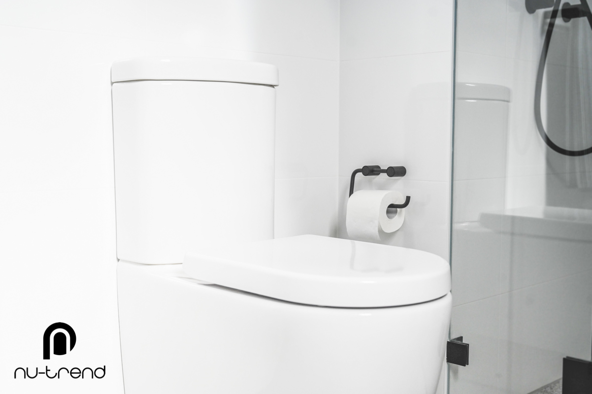 Nu Trend Sydney Renovation Company completed ensuite bathroom with Caroma Forma toilet
