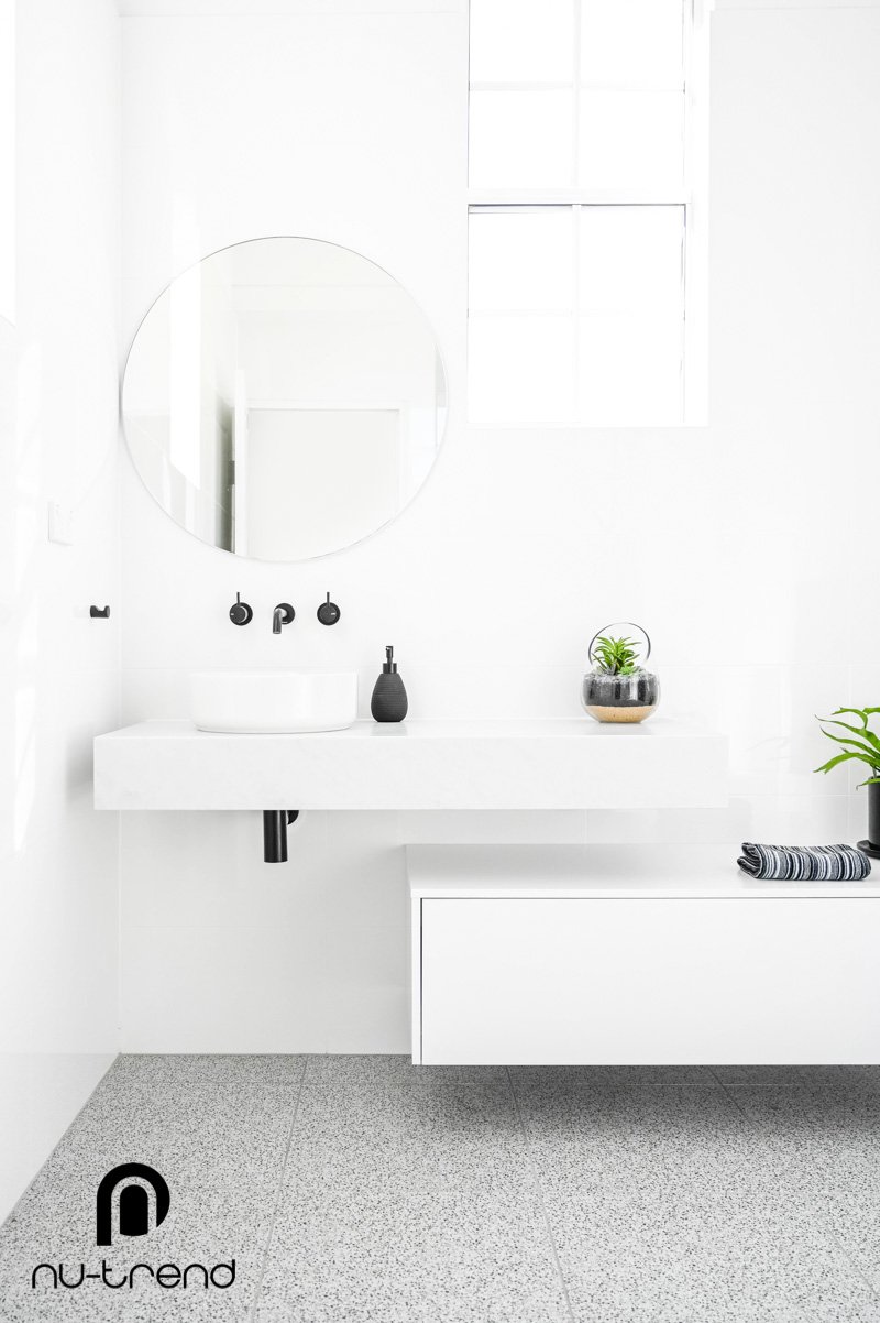 Nu Trend Sydney Renovation Company completed ensuite bathroom with old vanity replaced