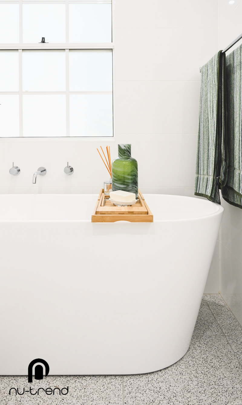 Nu Trend Sydney Renovation Company completed master bathroom with Arvo mm white bath from Bathroom Collective close up