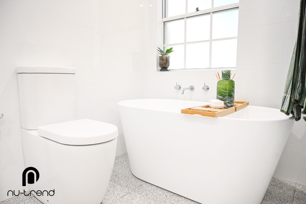 Nu Trend Sydney Renovation Company completed master bathroom with Arvo mm white bath from Bathroom Collective