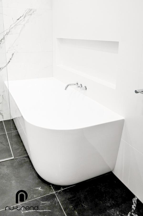 Master bathroom renovation upstairs shower and bath by Nu Trend in Greenhills Beach Sydney bathtub installation