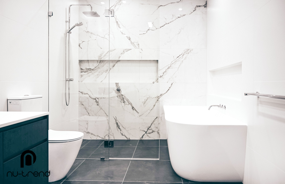 Master bathroom renovation upstairs shower and bath by Nu Trend in Greenhills Beach Sydney