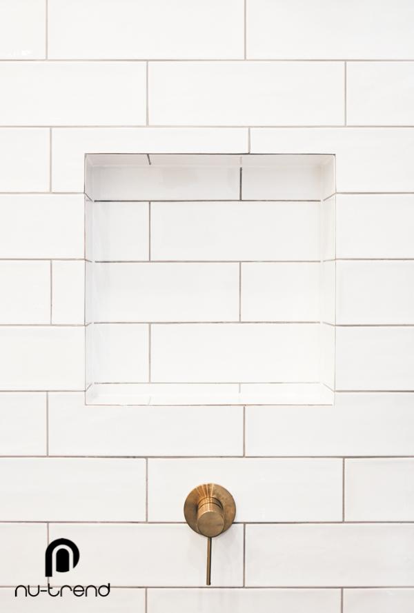 Nu Trend removing laundry from bathroom renovation in Randwick Vivid SLine ShowerWall Mixer BGold