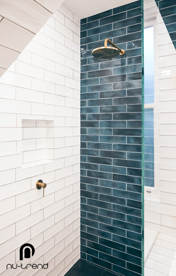 Nu Trend removing laundry from bathroom renovation in Randwick walk in shower Vivid Round Shower Rose mm BGold