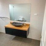 Bathroom renovation in Bankstown Parisi Products Vanity Unit and Garmando Vicario Taps