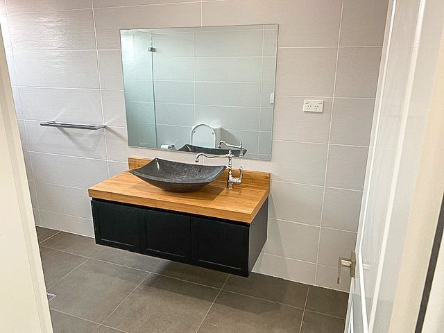 Bathroom renovation in Bankstown Parisi Products Vanity Unit and Garmando Vicario Taps
