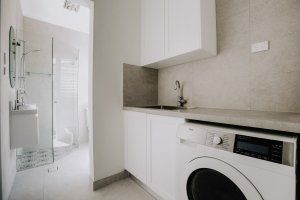 Combined bathroom and laundry renovation company in Sydney new floor plan and open space