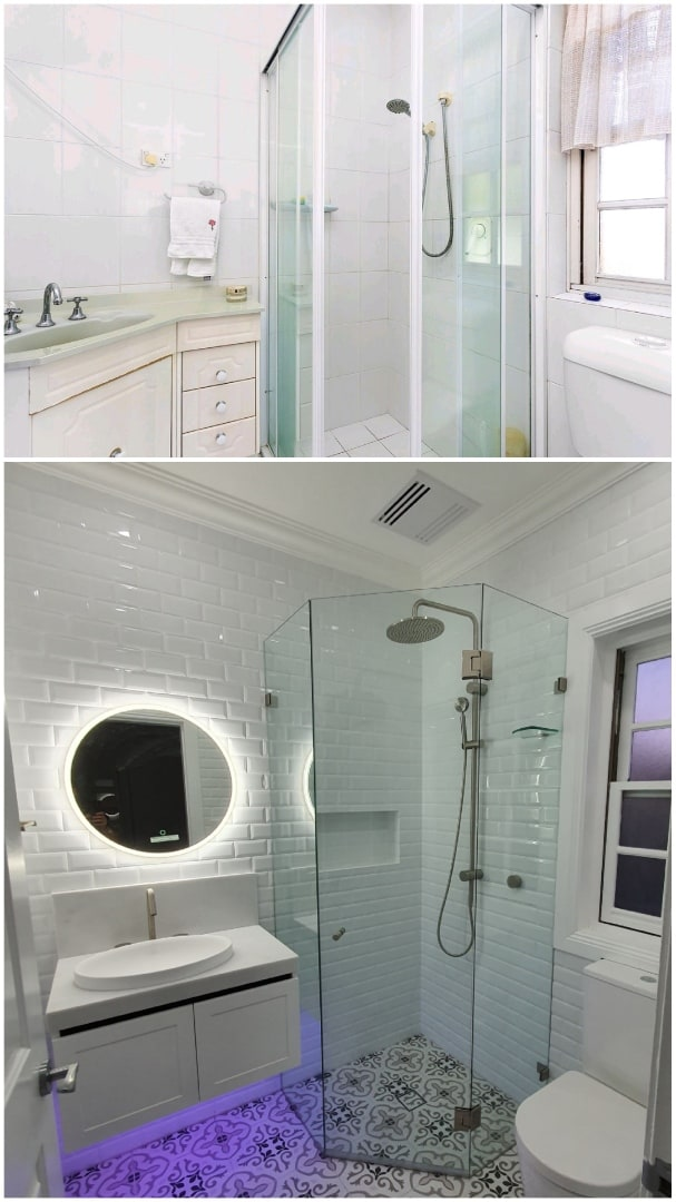 Ensuite bathroom renovation with shower before and after comparison that was done by Nu-Trend a Sydney renovation company