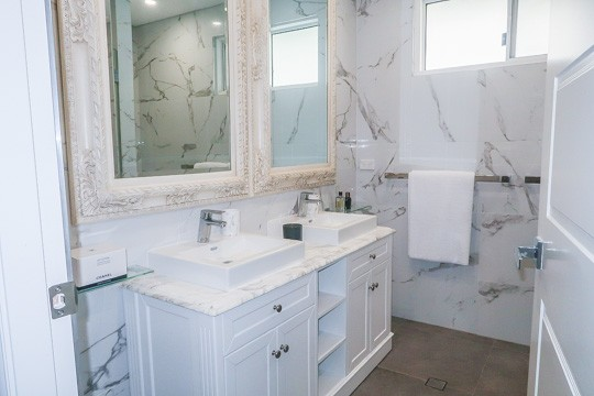 The vanity in a luxury master bathroom renovation in Sydney by Nu-Trend