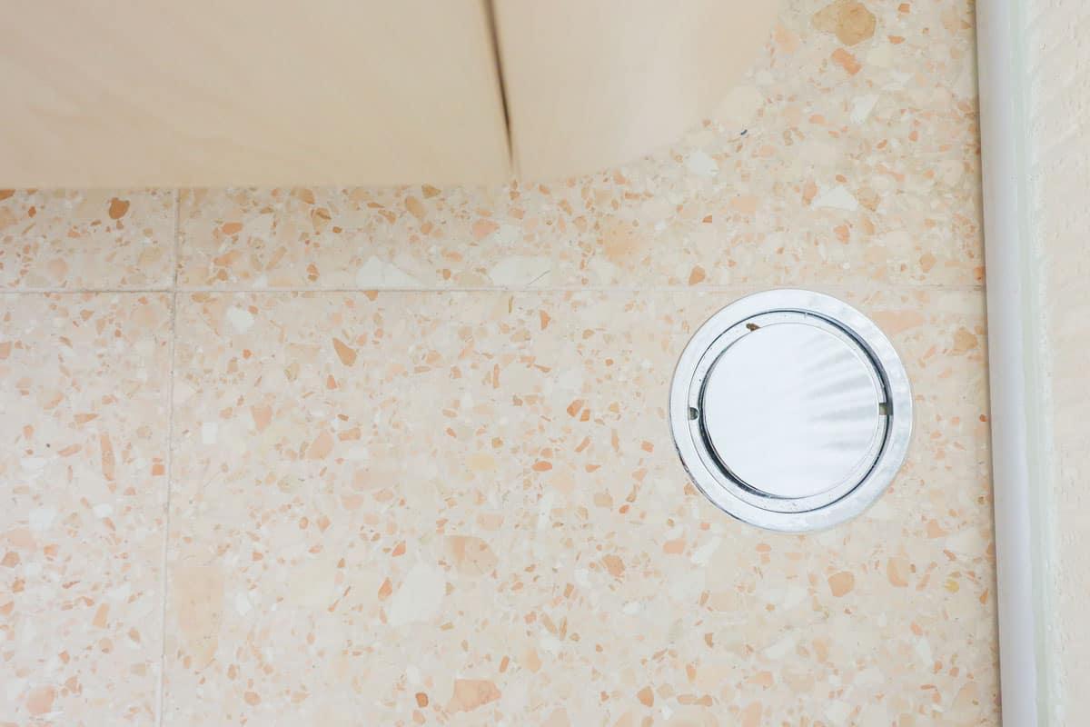 Terrazzo pavlova stone floor tiling in a Luxury unit bathroom renovations in Sydney installed by Nu-Trend (5 of 10)