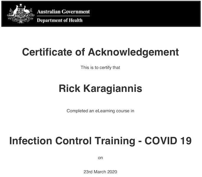 Nu-Trend Infection Control Training Certificate