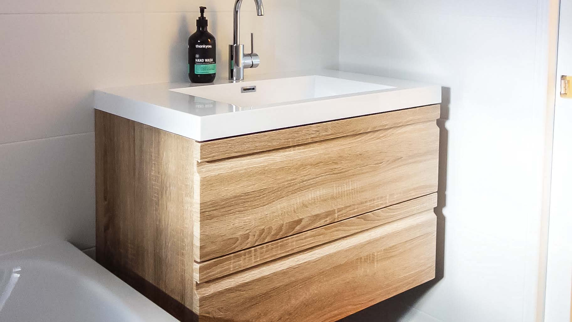 Nu Trend Sydney Bathroom Renovation with wooden vanity unit in Marrickville