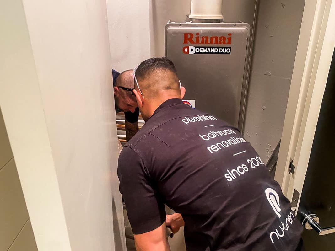 Nu-Trend Sydney Plumber Rinnai Hot Water System Repair For Swing Check Valve to Prevent loss of hot water, back charge, cross connection prevent dead legs
