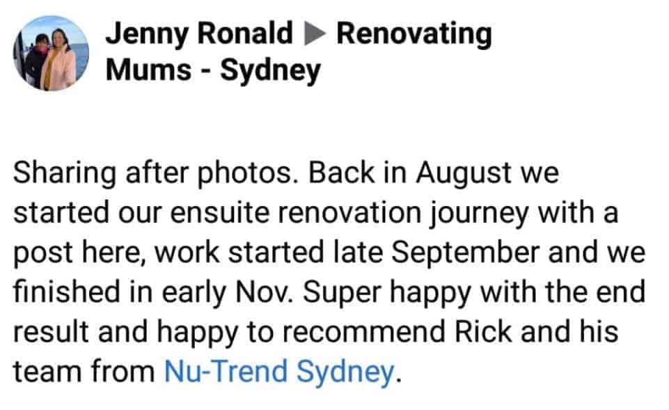 Nu-Trend Sydney Review by Jenny from Renovating Mums Sydney Facebook Group