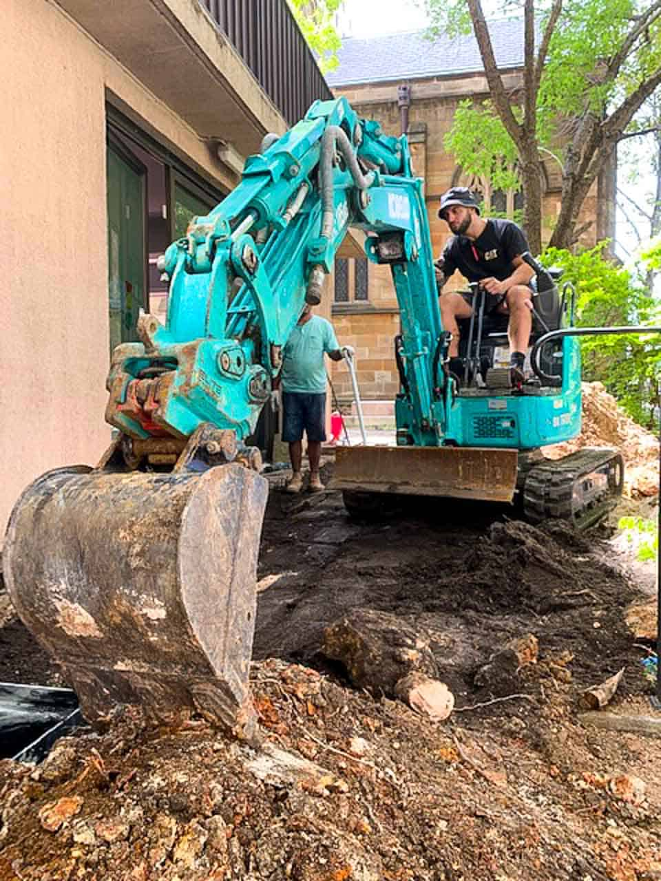 Nu-Trend Sydney plumber removing tree roots from a storm water line for a blocked drain and new pipe installations