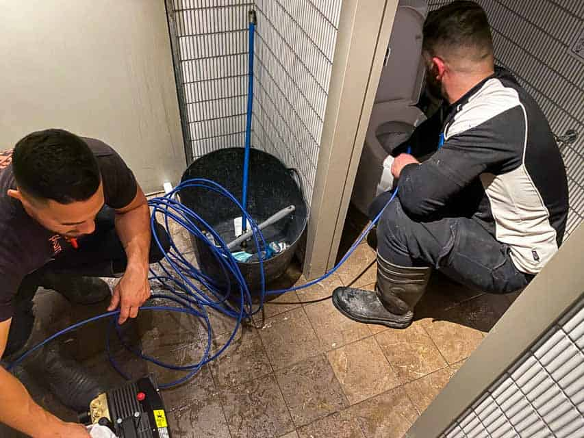Restaurant Blocked Drain Repair For Ishi Ban Boshi Nu-Trend plumbing fixing a blocked sewer drain in a restaurant shopping centre retail store with pipe inspection
