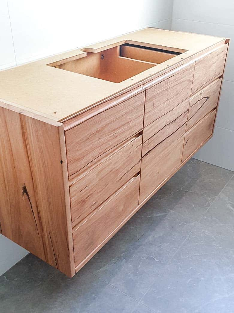 Small bathroom renovation in Alexandria with a custom made timber vanity from Eclipse Handcrafted Furniture